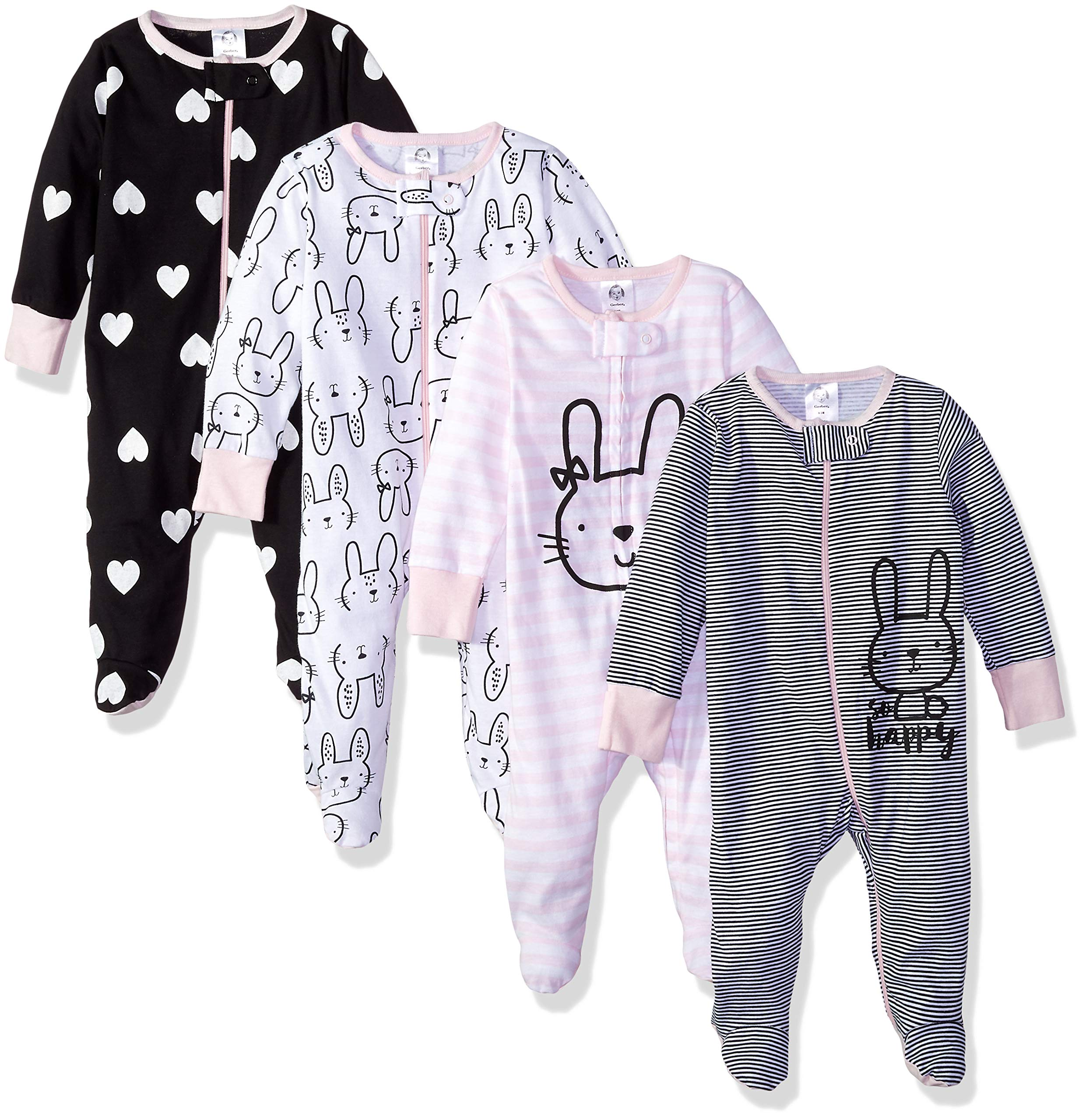 Zanie Kids Baby Girls 100/% Cotton Pajama Snug Fit Footless Sleep and Play Newborn One Piece Jumpsuits