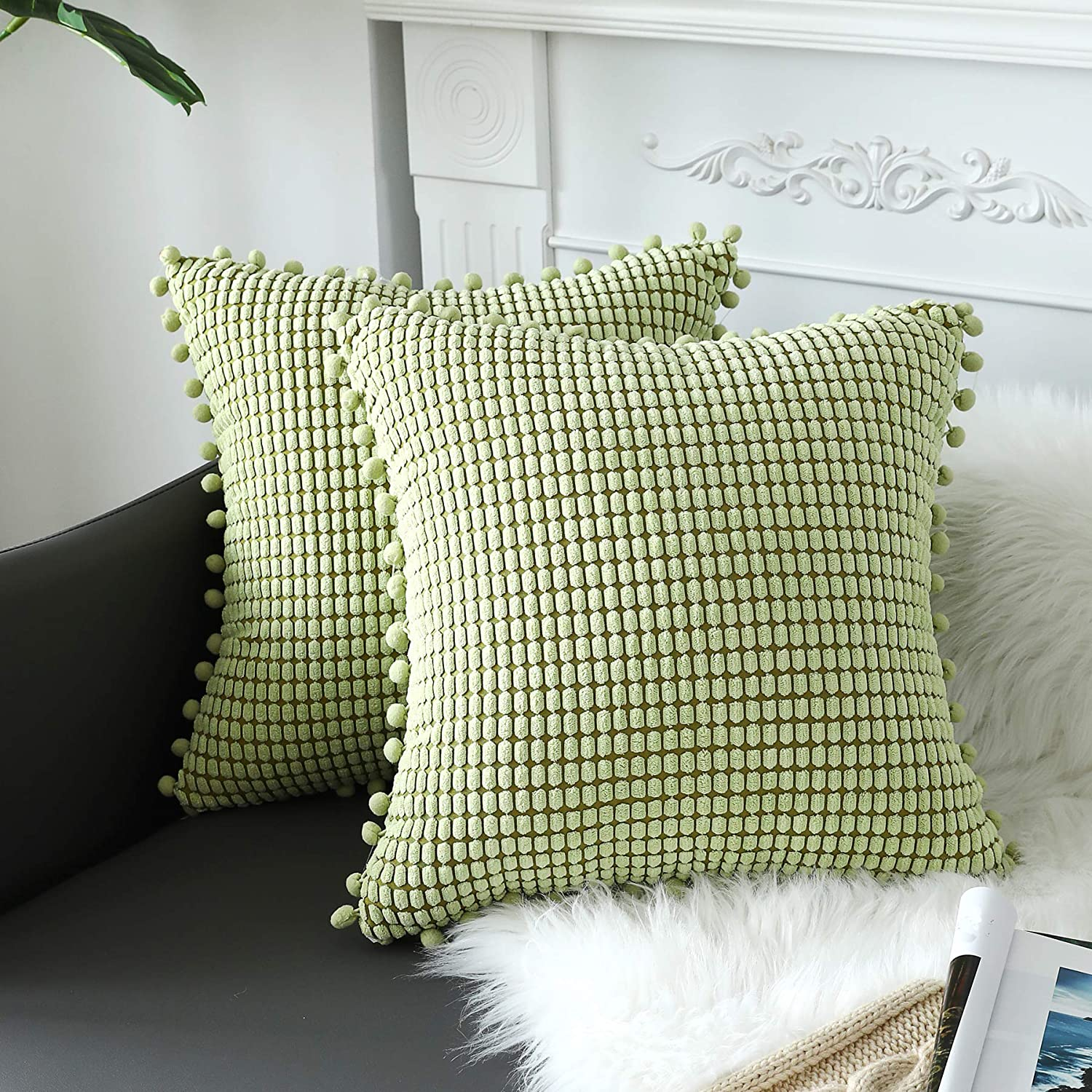 Sykting Decorative Pillow Covers Soft Corduroy Textured Throw Pillow Cases With Pom Poms For Couch Sofa Bed Chair Pack Of 2 20x20 Inch Sage Green Home Kitchen
