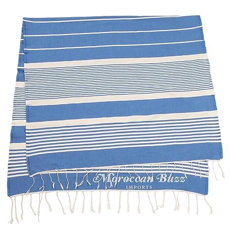 Moroccan Buzz Azul hammam toalla (túnez) Azul blanco
