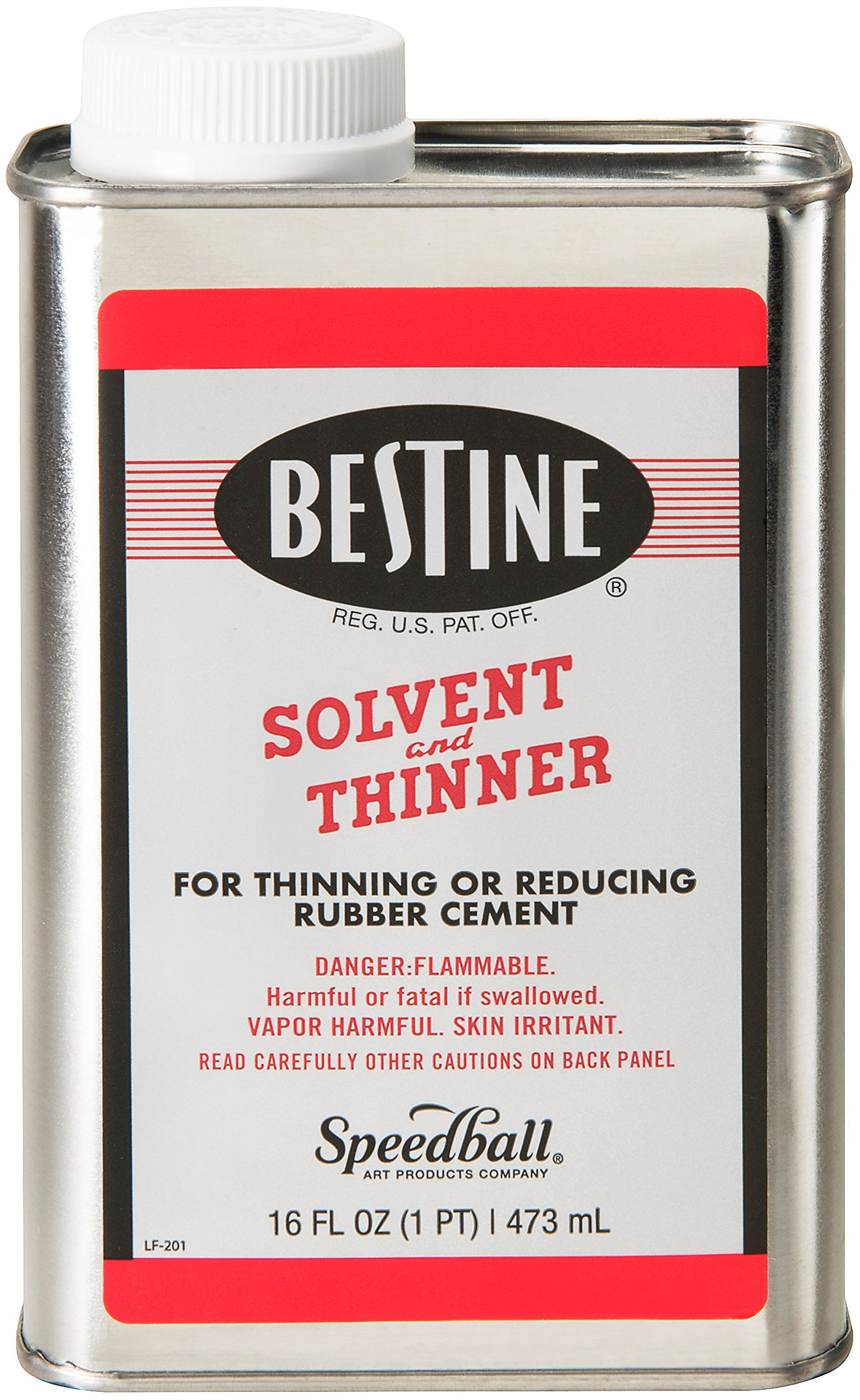 Bestine Solvent and Thinner for Rubber Cement - Cleans Ink, Adhesive and Parts, 16 Ounce Can