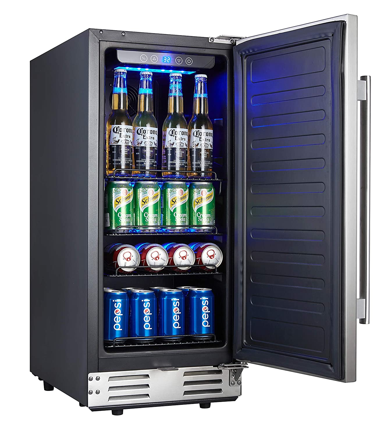 Kalamera 15 Inch Stainless Steel Beverage Cooler – Soda and Beer Refrigerator Chills Drinks at 32-41 Degrees – Drinks Fridge for Home and Commercial Use