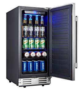 Kalamera 15 Inch Stainless Steel Beverage Cooler - Soda and Beer Refrigerator Chills Drinks at 32-41 Degrees - Drinks Fridge for Home and Commercial Use …