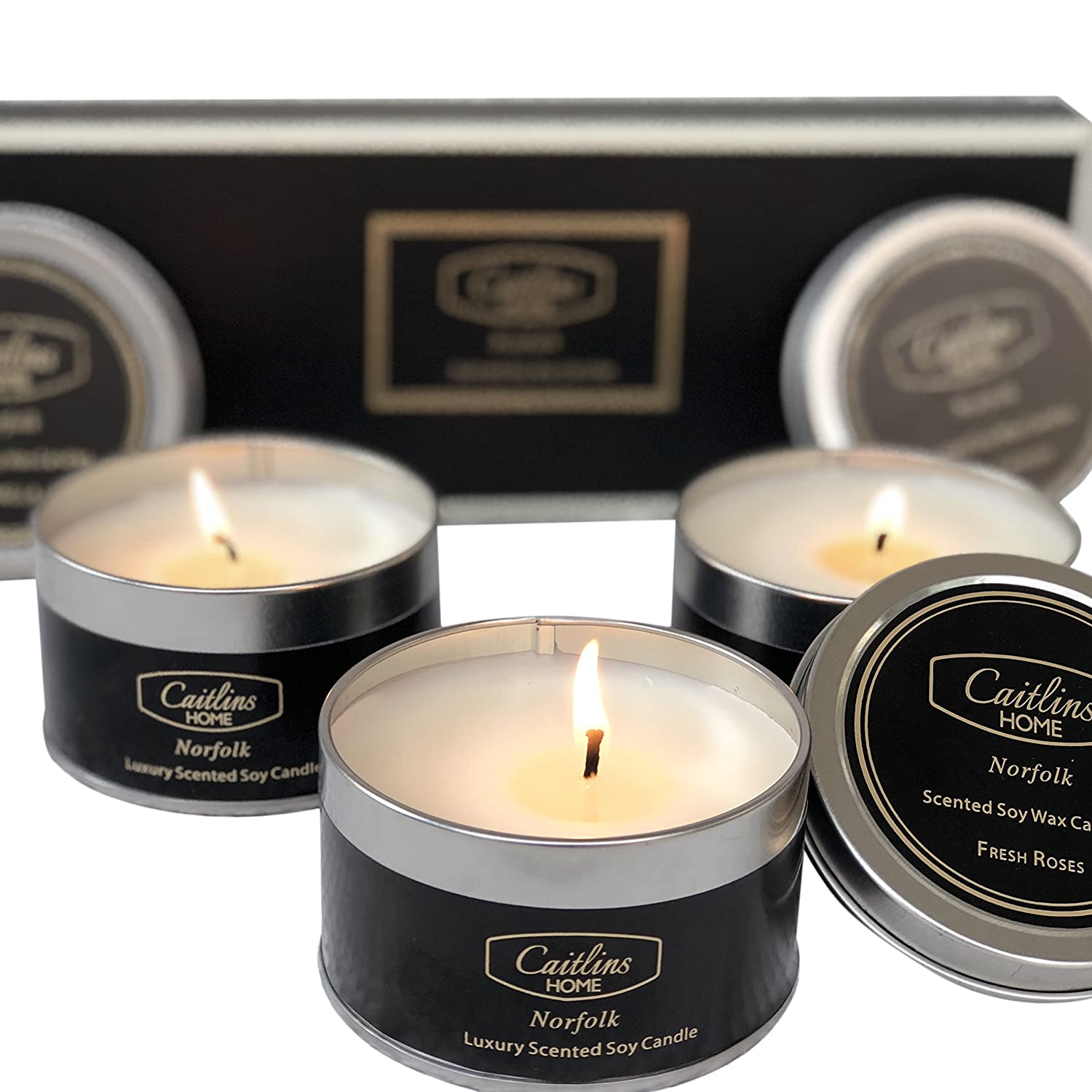 Caitlins Home Scented Candles Aromatherapy Soy Wax Candle Gift Set Vanilla, White Lavender, Eucalyptus Scents B0751VL8RP