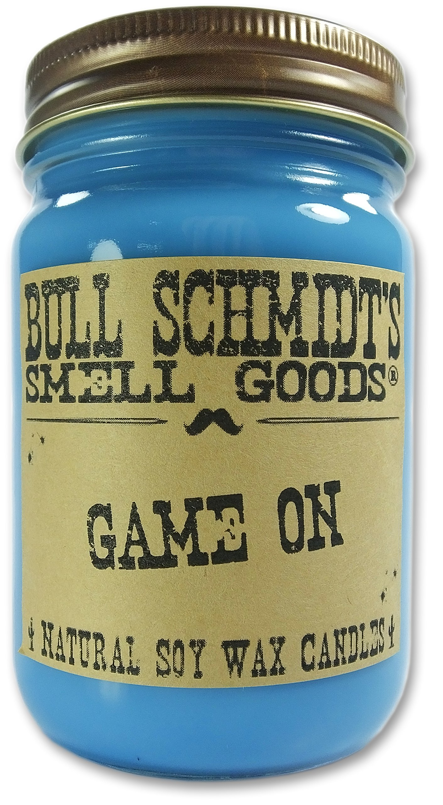 Bull Schmidt's Game On Strongly Scented Hand Poured Vegan Candle, 12 Ounce Canning Jar, Rustic Lid