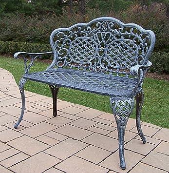 Oakland Living Mississippi Cast Aluminum Love Seat Bench, Verdi Grey