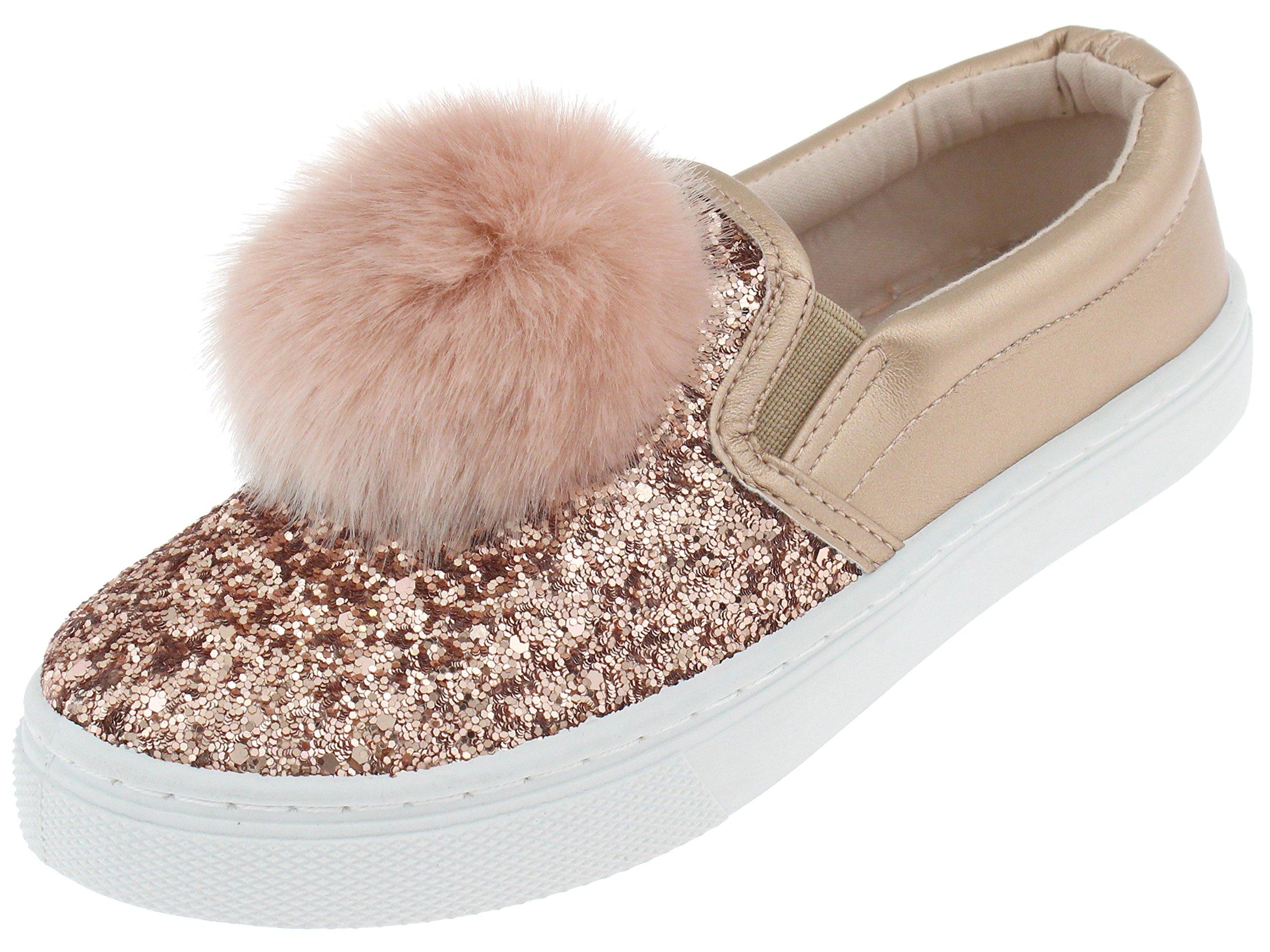 Capelli New York Girls Glitter Slip On Sneaker with Fur Pom Detail Rose Gold 2