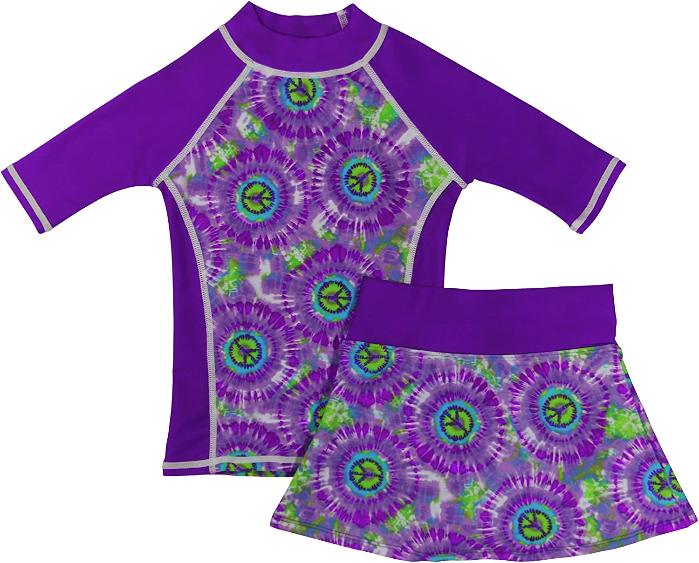 grUVywear Girls Rash Guard Sun Protective UV Swim Shirt & Bikini Swim Skirt Set K-SS-P-G-BAND-HIPP-KSET-08