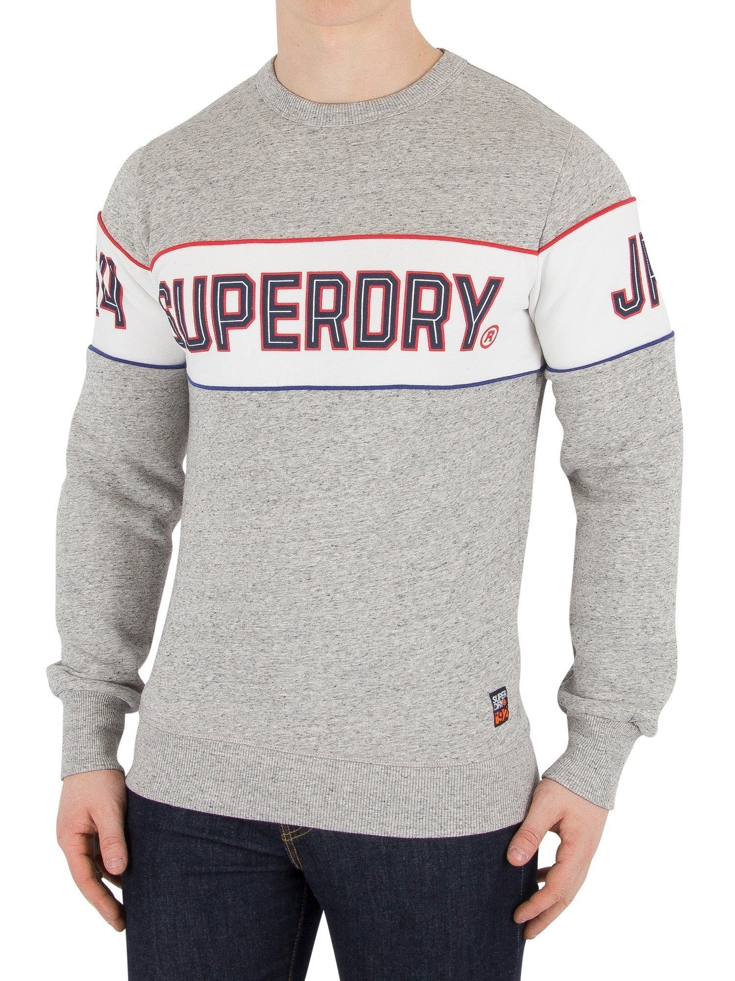 Superdry Men's Retro Stripe Sweatshirt, Grey, Medium