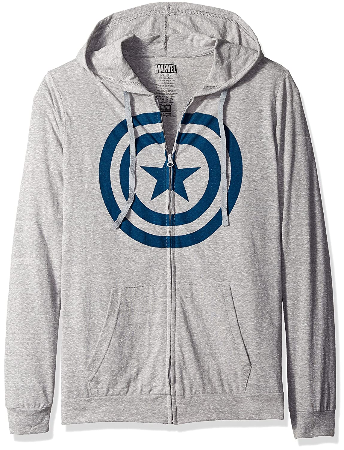 16c51c69524dd Marvel Men's Captain America Lightweight Hoodie at Amazon Men??