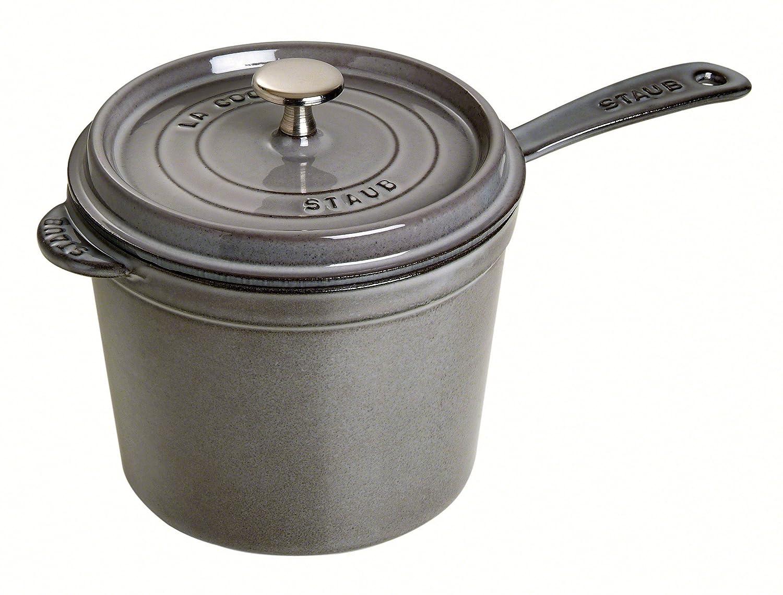 Staub Graphite Grey Enameled Cast Iron Covered Saucepan, 3 Quart