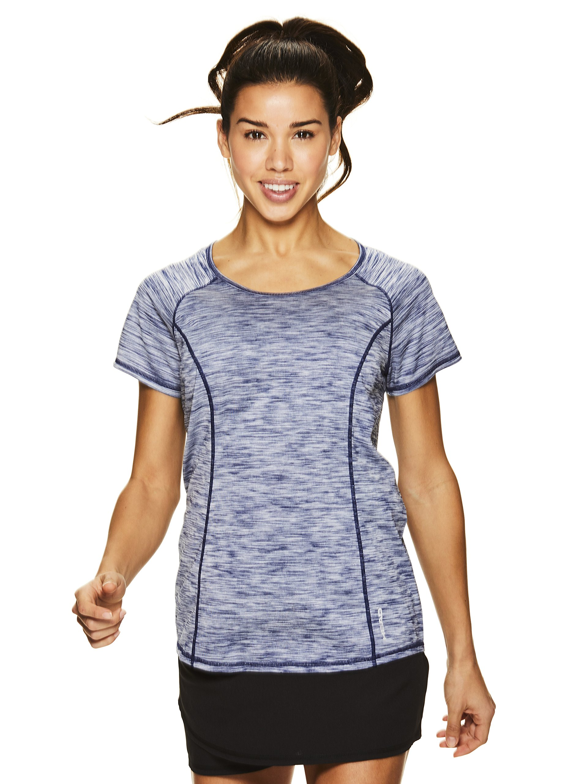HEAD Women's Serena Short Sleeve Workout T-Shirt - Performance Crew Neck Activewear Top - Medieval Blue Heather, X-Small by HEAD (Image #4)