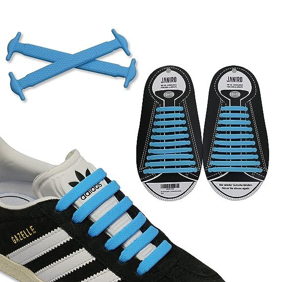 a65df7183f154c JANIRO Elastische Silikon Schnürsenkel – flexibler Schuhbänder Ersatz ohne  Binden - Kinder   Erwachsene - 20 Stück - Blau  Amazon.de  Sport   Freizeit