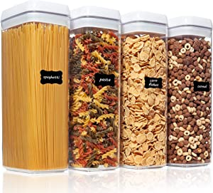 Airtight Food Storage Containers, Vtopmart 4 Pieces Large BPA Free Plastic Spaghetti Containers with Easy Lock Lids, for Kitchen Pantry Organization and Storage, Include 24 Labels