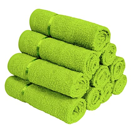 Story@Home 100% Cotton Soft Towel Set of 10 Pieces, 450 GSM - 10 Face Towels - Green
