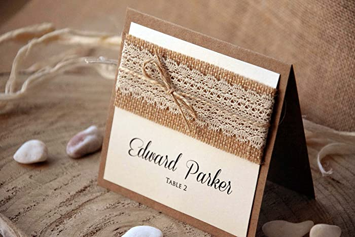 Amazon Com Rustic Wedding Place Cards Burlap And Lace Escort Cards