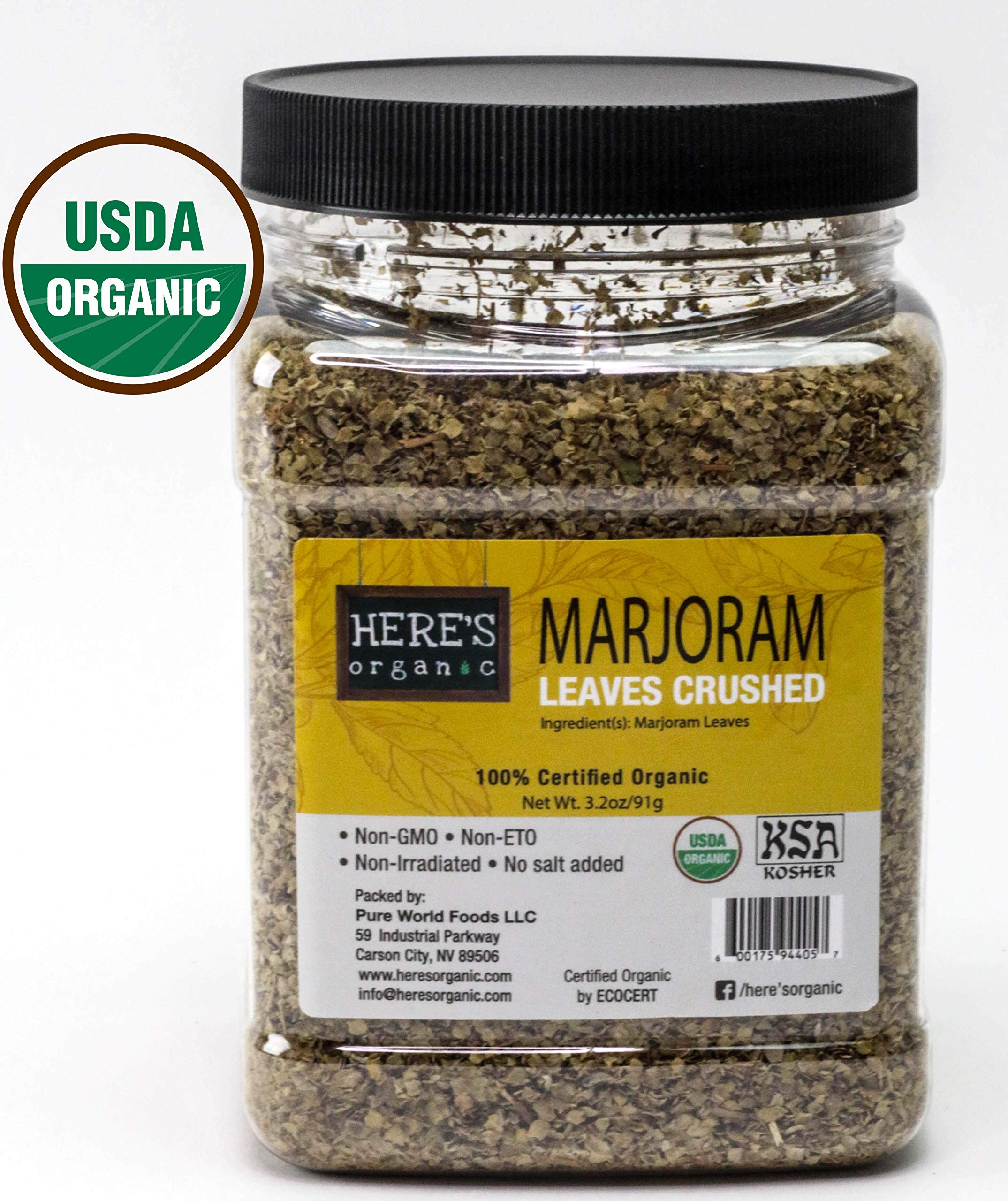 Organic Marjoram Leaves - USDA Certified in wide mouth Jars 3.2oz/ 91g