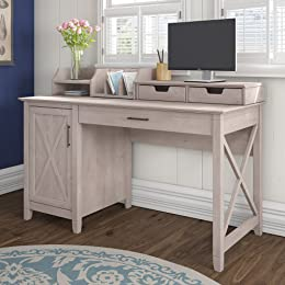 Bush Furniture KWS010WG Desk With Organizers Key West 54W Single Pedestal  Desktop, Washed Gray