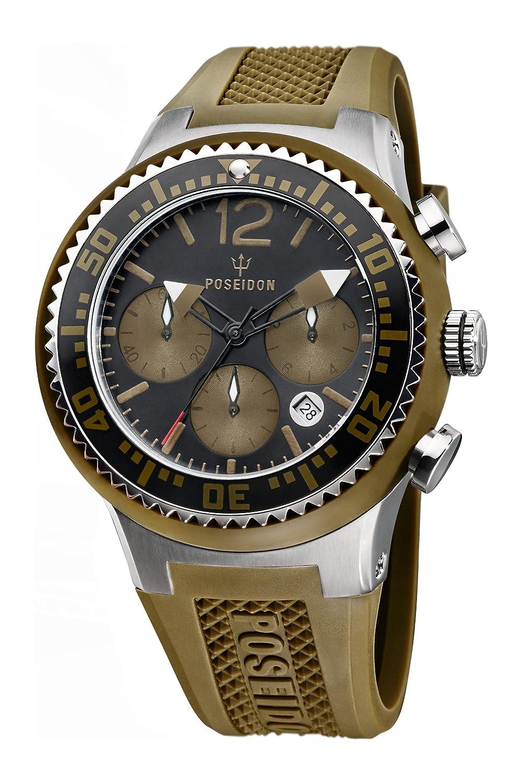 Poseidon Herren-Armbanduhr XL POSEIDON L Chrono Analog Quarz Silikon P-00461