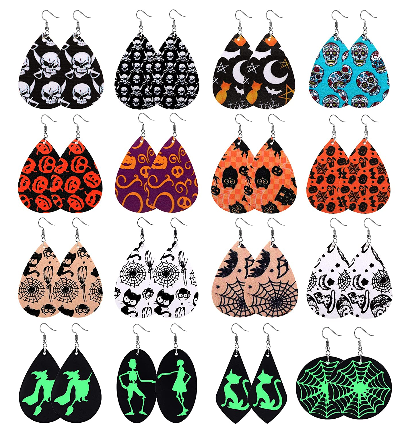 Anlsen 16 Pairs Leather Earrings for Women Teardrop Leaf Print Petal Leopard Flower Lightweight Drop Dangle Leather Earring Set