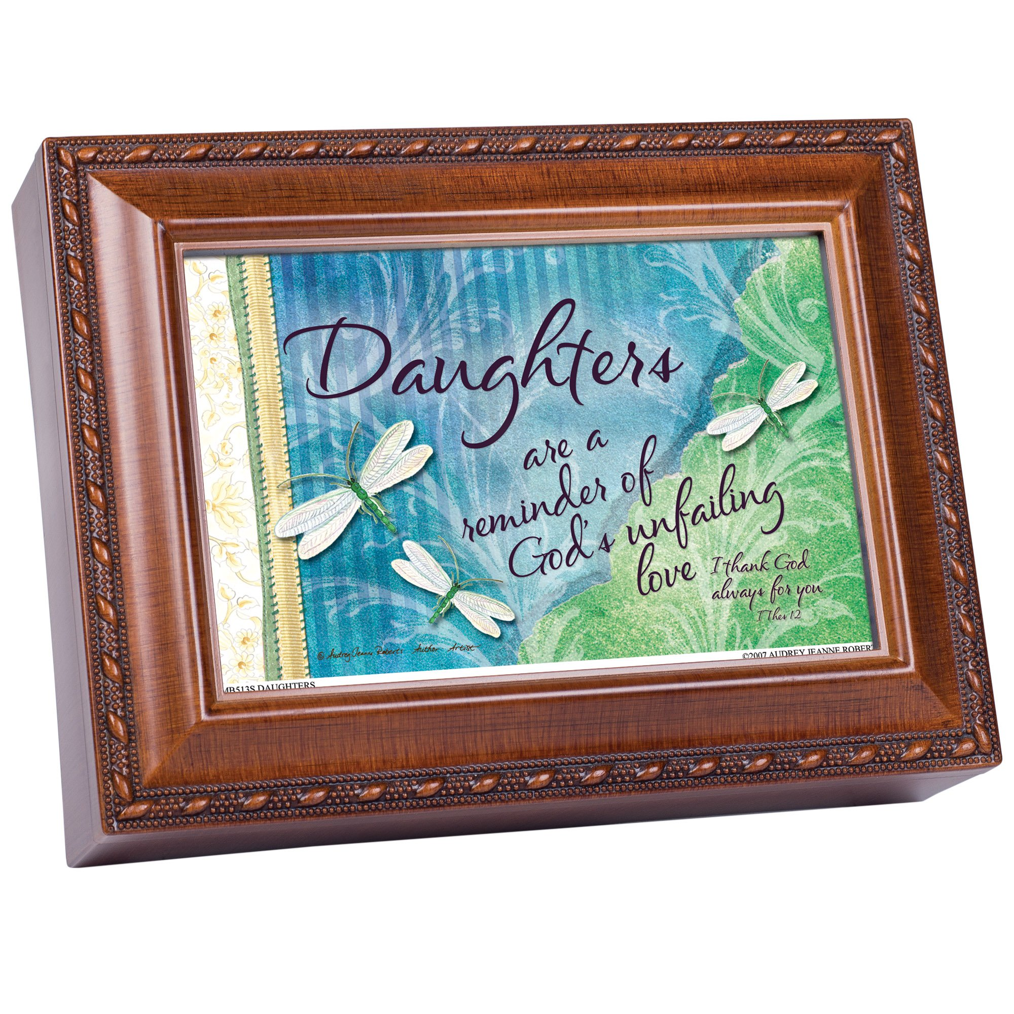 Cottage Garden Daughters Precious And Few Woodgrain Traditional Music Box Plays Friend in Jesus
