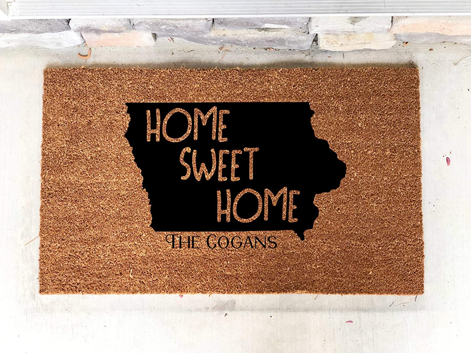 Personalized Iowa Home Sweet Home Custom Door Mat Home 18