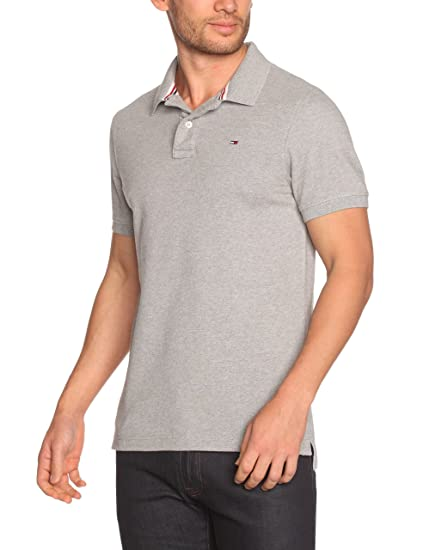 Tommy Jeans Men s Pilot Flag Short Polo Shirt, Gris (Light Grey Heather),.  Roll over image ... 86aaf4d25227