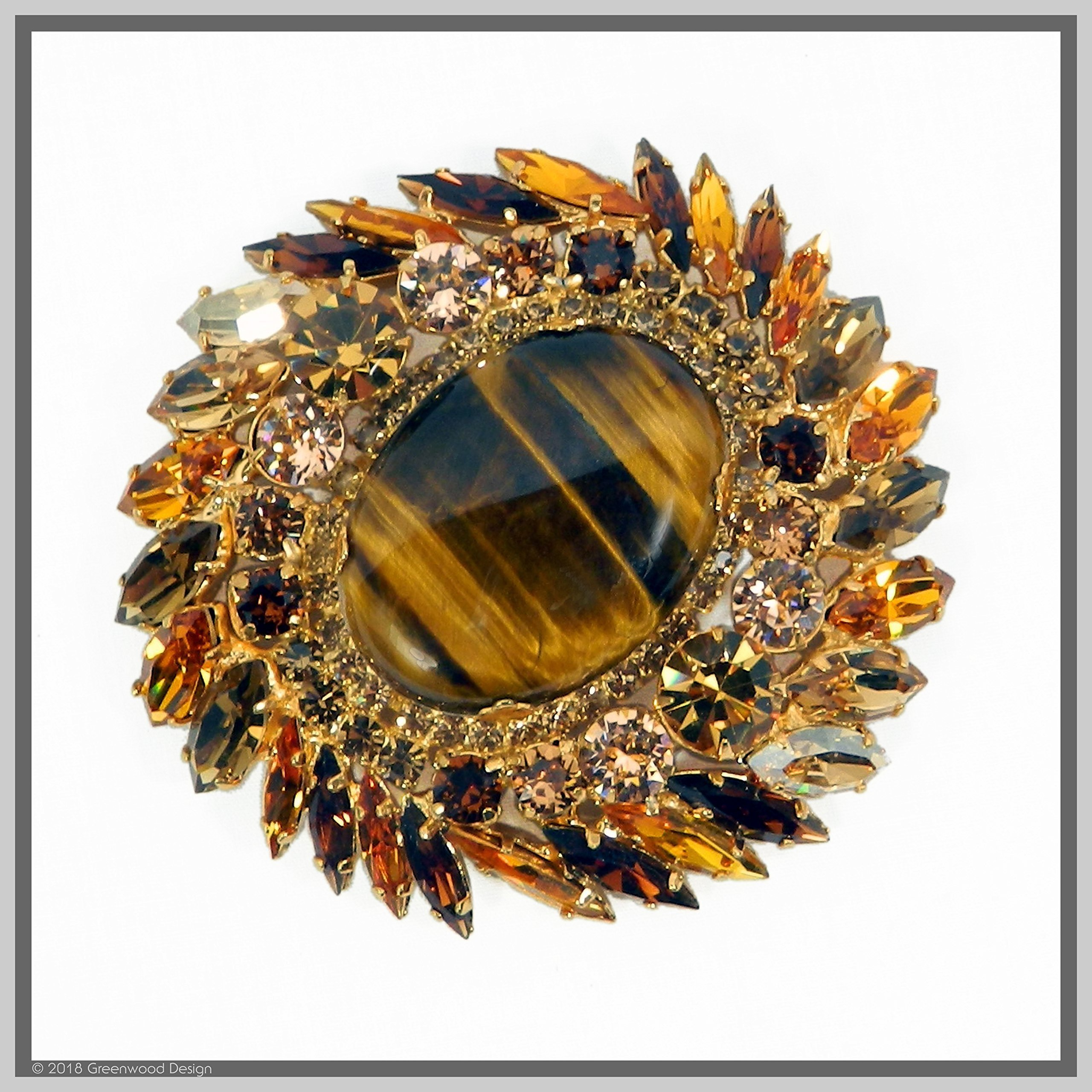 Hand Made Designer Jewelry Art Tiger Eye Brooch Pin with Swarovski Stones Gold Plated