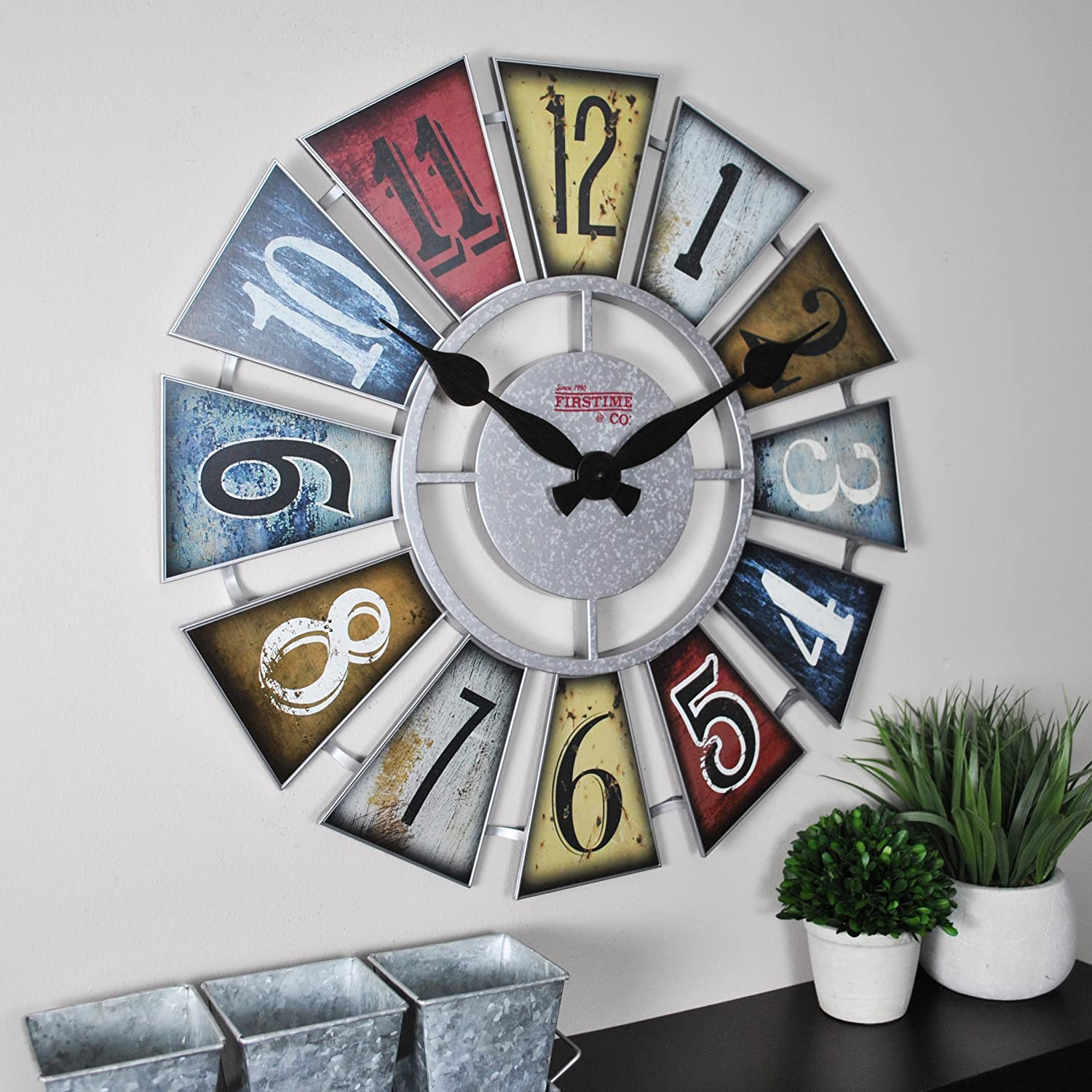 "FirsTime & Co. FirsTime Numeral Windmill Wall Clock, 24"", Multicolor"