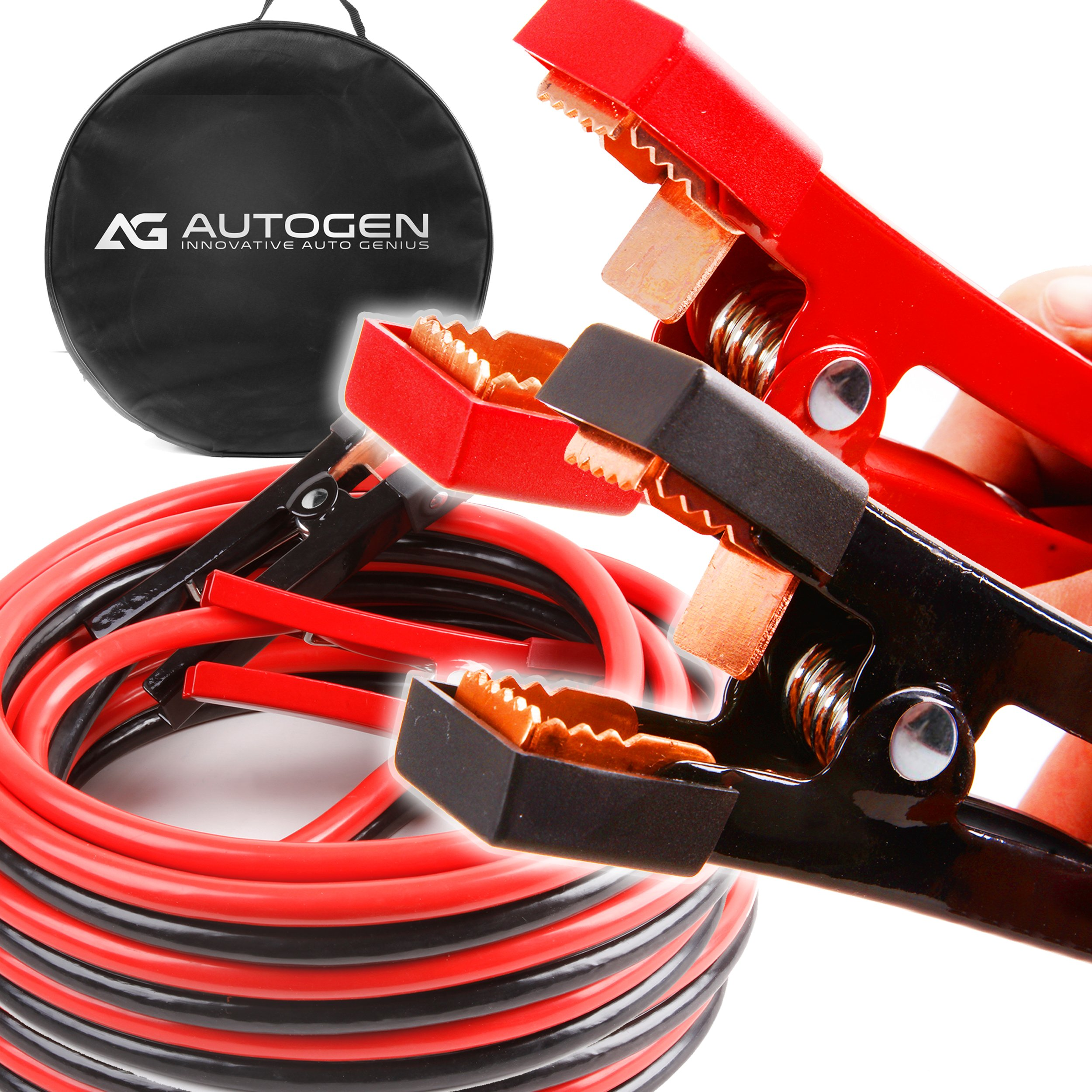 AUTOGEN Jumper Cables 1 Gauge 30 Ft 900A Booster Cables with 100% Copper Jaws Jump Start Heavy Duty Trucks by AUTOGEN