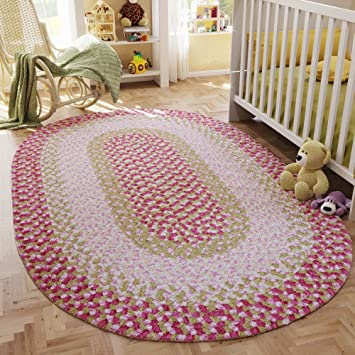 Super Area Rugs, Romper Soft Braided Rug Chenille Fiber For Nursery Pink U0026  Sage,