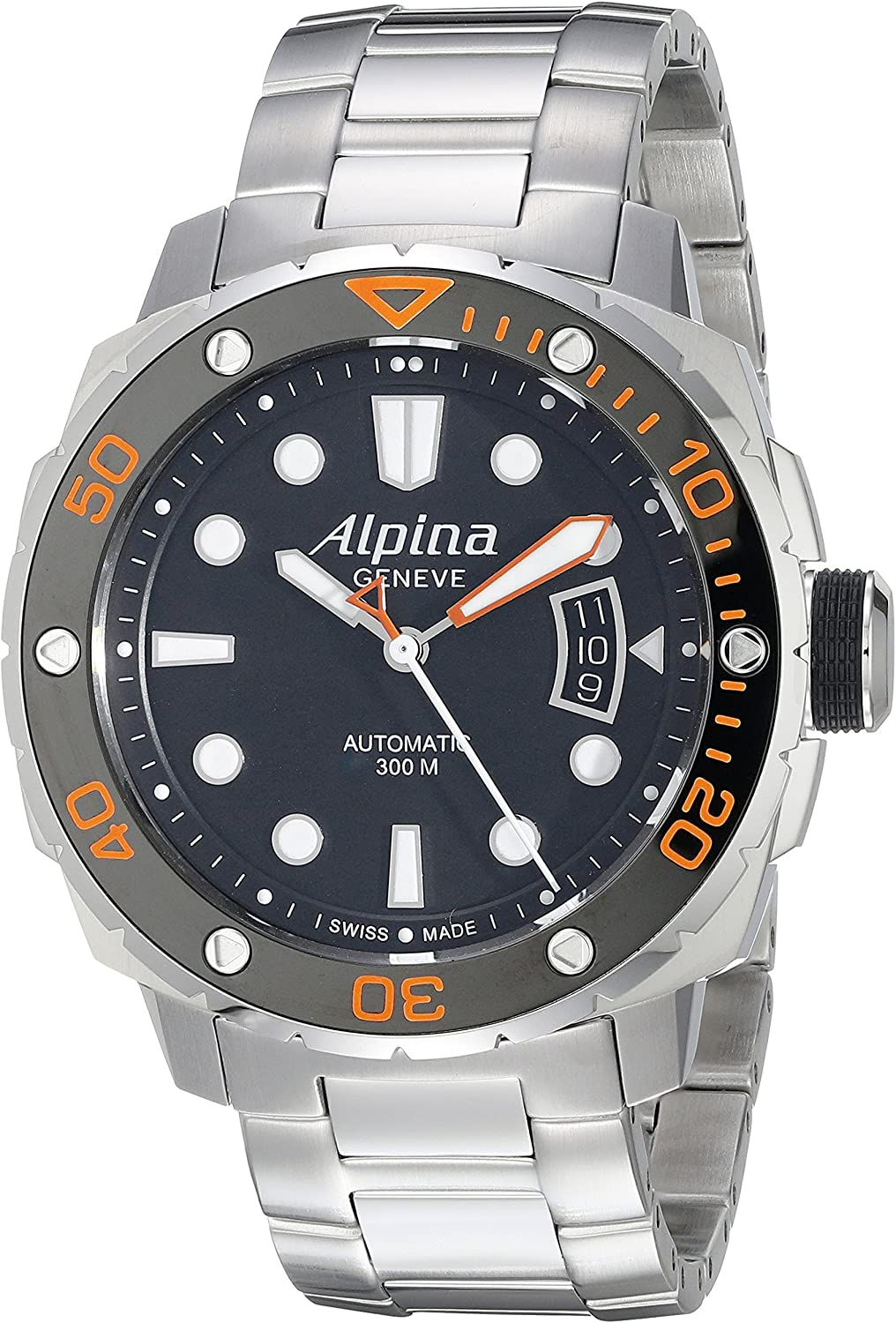 Alpina Men s AL-525LBO4V26B Seastrong Diver 300 Analog Display Automatic Self Wind Silver Watch