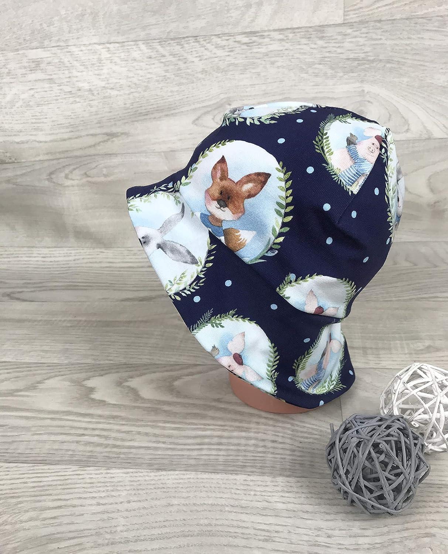 Sonnenschutz baby sommerm/ütze Schirmm/ütze Sonnenhut inkl Nackenschutz 41-54 musselin m/ütze taupe beigesterne kopftuch