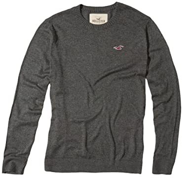 Hollister Men's Crewneck Icon Slim Fit Sweater, S, Grey