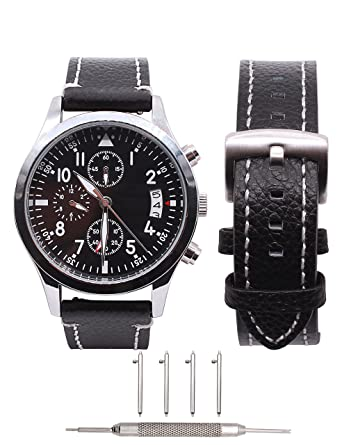 18mm Watch Band Leather - Quick Release - Zenwatch 2 1.45 - Fossil Q Tailor - Huawei - LG Watch Style - Withings Activite - Steel HR - Casio Aposon ...