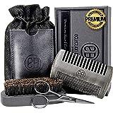 Beard Brush & Beard Comb Kit, Natural Boar Bristle Brush, Authentic Sandalwood Dual Action Comb & Durable Case, Mustache…