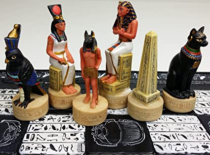 """Egypt  Pharaoh Knight Anubis! BIG 4.5/"""" King Egyptian Chess 32- Piece Set"""