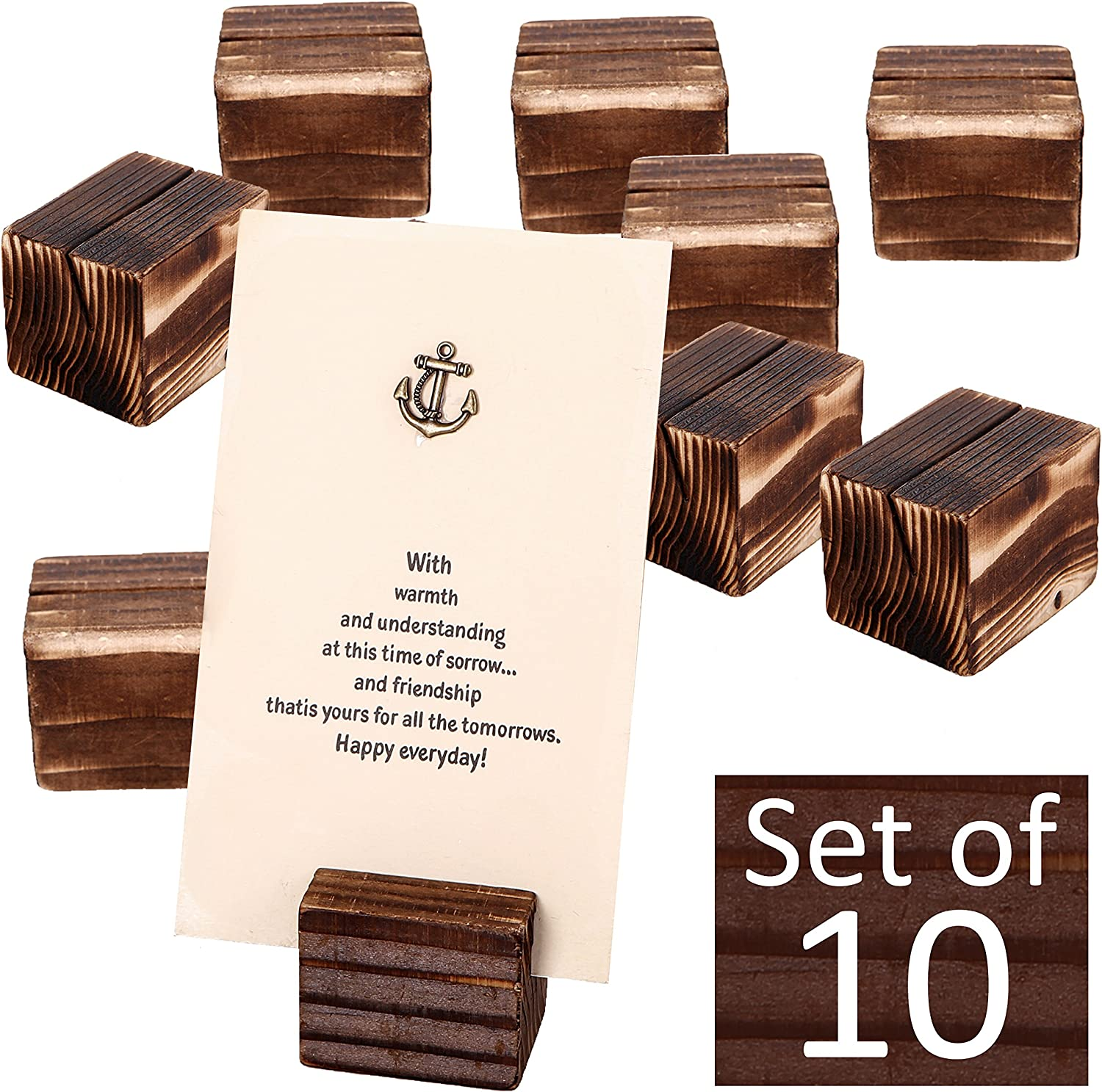 MyGift Rustic Brown Wood 2 Inch Place Card Holders, Table Number Stands, Set of 10