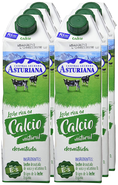 Central Lechera Asturiana Leche Calcio Desnatada - Paquete de 6 x 1000 ml - Total: 6000 ml: Amazon.es: Alimentación y bebidas