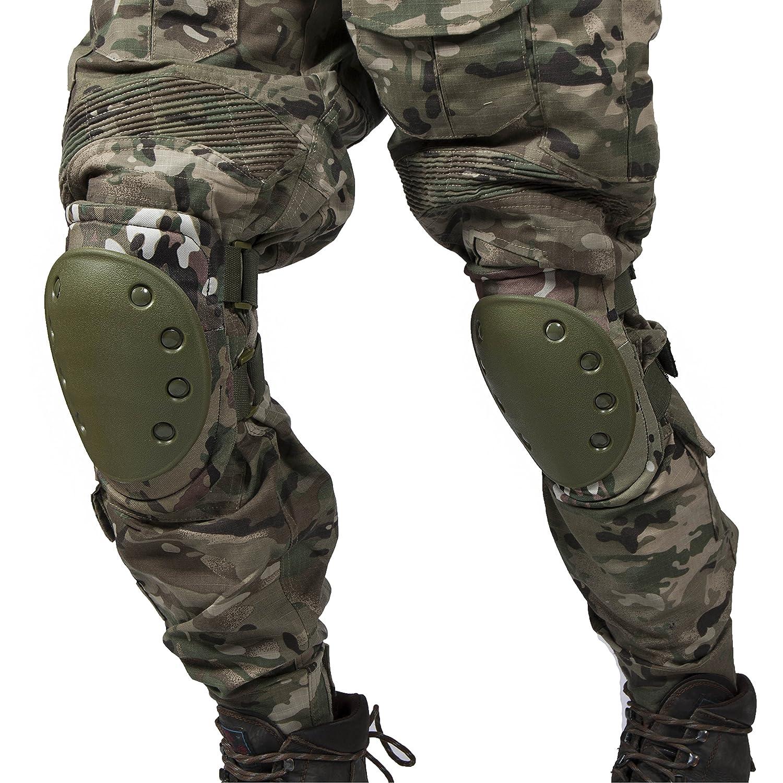 Airsoft táctico ajustable de la rodilla del codo almohadillas protectoras Conjunto de protección de engranajes Deportes Caza de ratón Shooting Ejercito (Color1) Militar-TLD