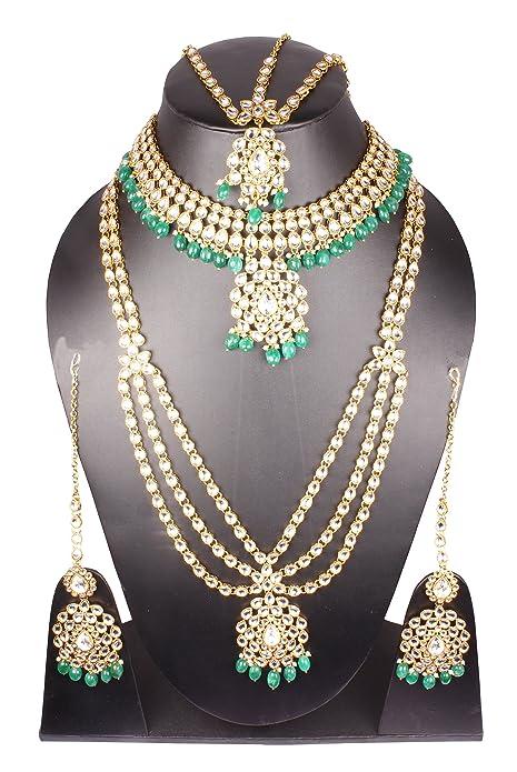 Amazon.com: Chapado en oro de estilo indio Polki Kundan ...