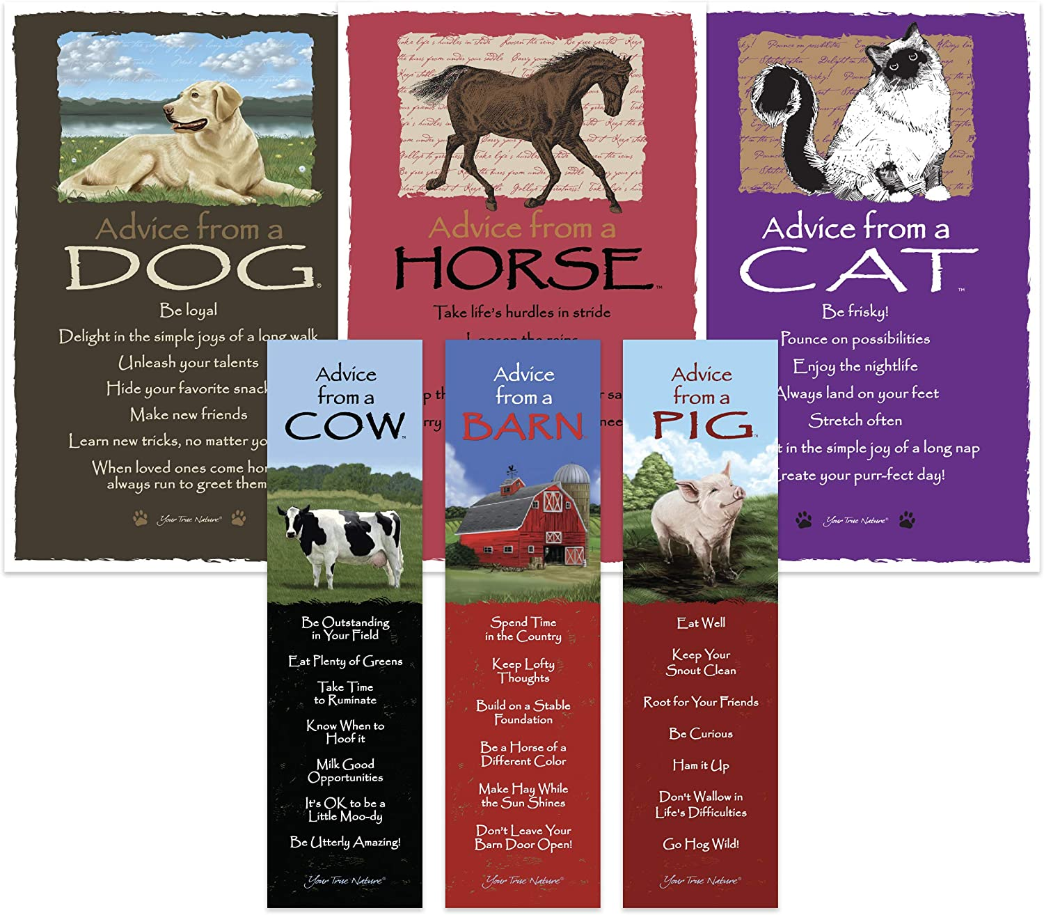 Advice from Nature Bookmark & Art Card Farm Set- 3 Bookmarks: Pig, Cow, Barn - 3 Art Cards: Horse, Cat, Dog by Your True Nature