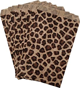 """200 pcs 5"""" x 7"""" Leopard Print Kraft Paper Bag for Arts Craft Item, Party Favor, Merchandise, Gift Bags, Candy and Cookies"""