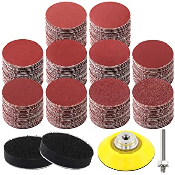FPPO 2 inch 120PCS Sanding Discs Pad Kit for Drill Grinder Rotary Tools with Backer Plate 1//4 Shank Includes 60-5000 Grit Sandpapers