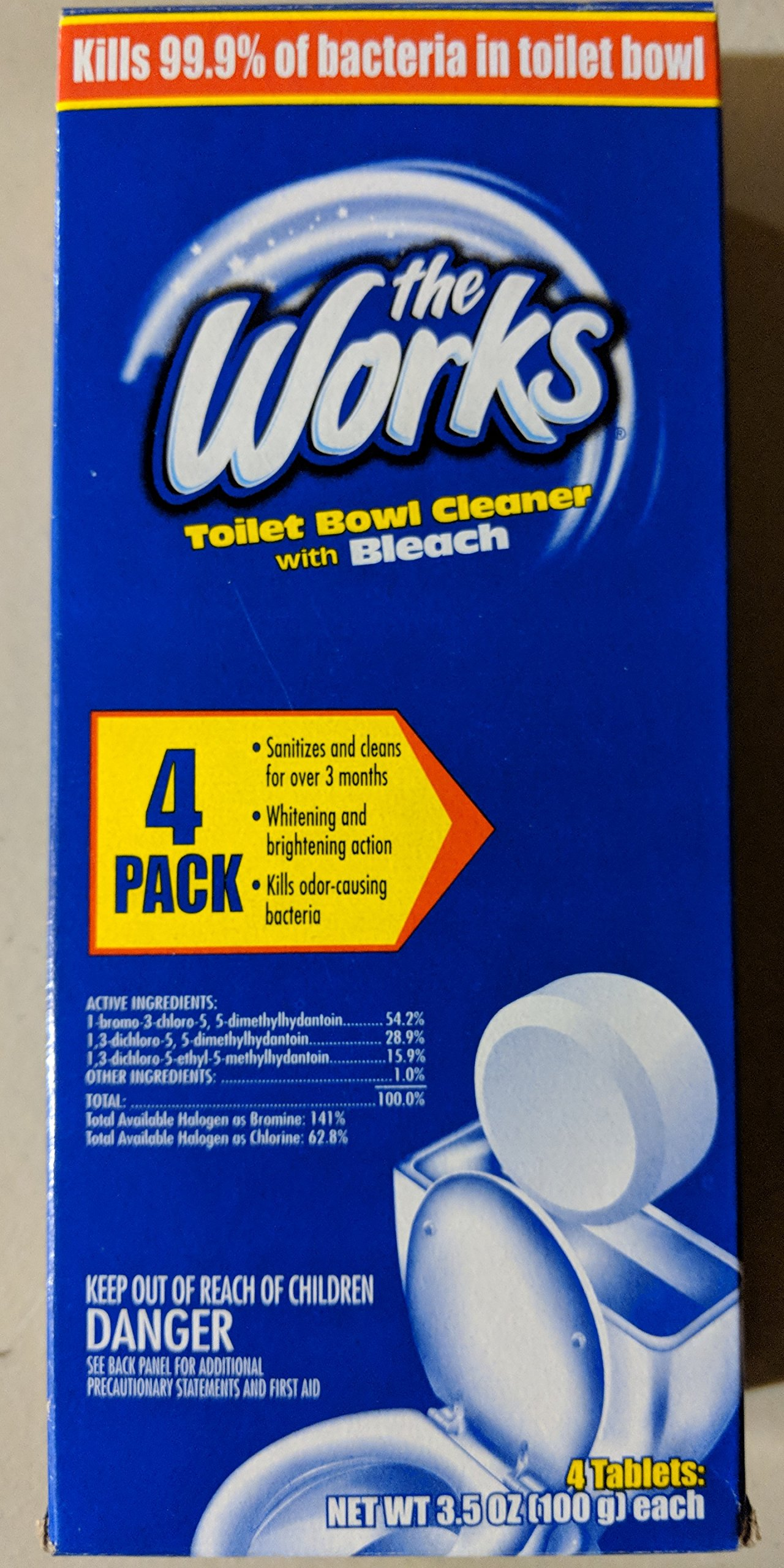 The Works Toilet Bowl Cleaner With Bleach 4 Pack of Tablets (1)