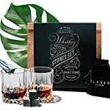 Whiskey Stones and Whiskey Glasses Gift Set - Premium Chilling Rocks (8 cubes), 2 whisky glass in Luxury Wooden Decor Box - Best Dad, Men, Fathers Day Gifts - Cool Bourbon, Scotch, Wine Drink - ÉLEVER
