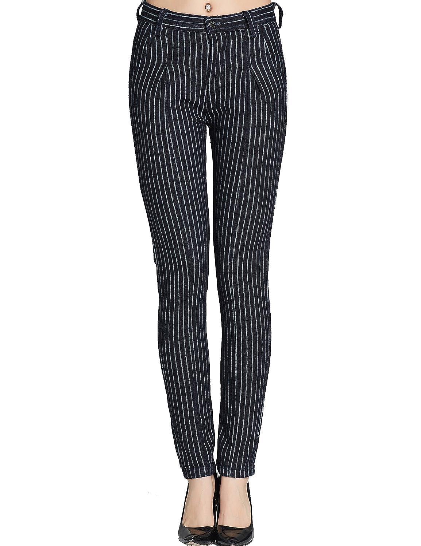 Camii Mia Pantalones Vaqueros Mujer Cintura Alta a Rayas Haren Denim Jeans