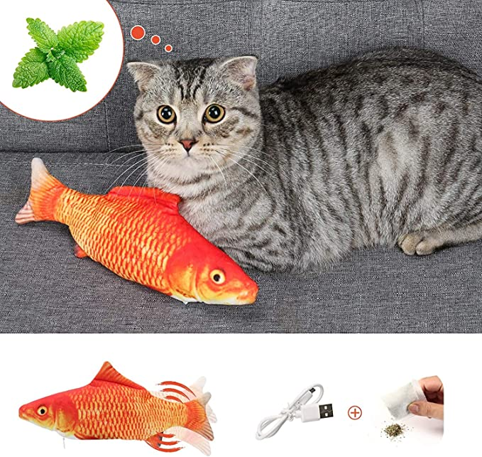 Amazon.com : twocolur Flopping Fish Cat Toy, Cat Toys for Indoor Cats 28cm Interactive Cat Kicker Fish Toy, Catnip Moving Fish Toy, USB Charging, Washable for Biting, Chewing, and Kicking (red) : Pet Supplies