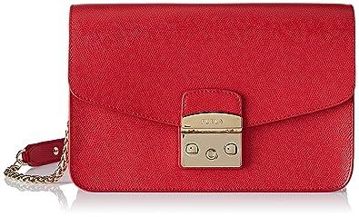 3f37ef3251 Furla Metropolis S Shoulder Bag, Sac femme, Rouge (Ruby), 9x18x25 cm ...