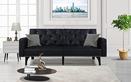 Amazon.com: Modern Tufted Bonded Leather Sleeper Futon Sofa with ...