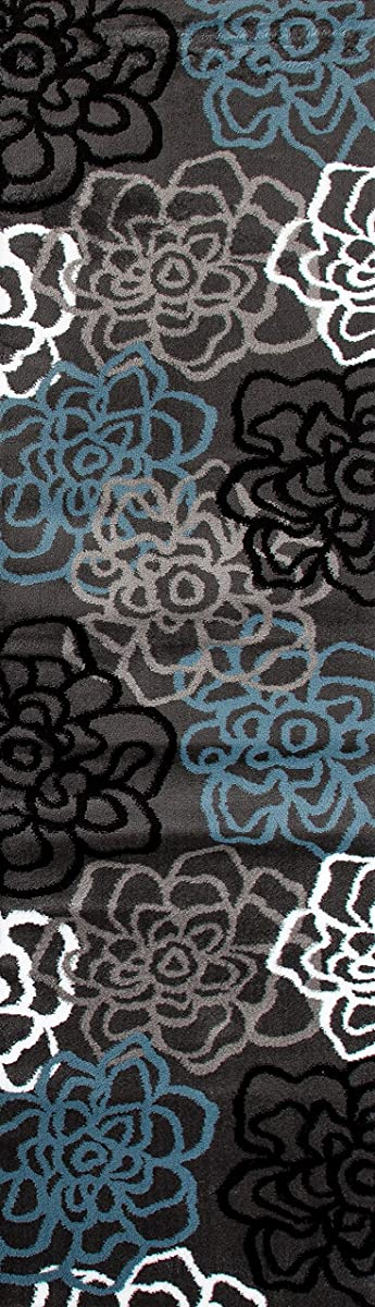 """Rugshop Contemporary Modern Floral Flowers Area Rug Runner, 2 x 72"""", Gray"""